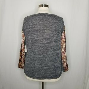 Style & Co Tops - Style&Co Orange Gray Colorblock Bubble-Sleeve Top